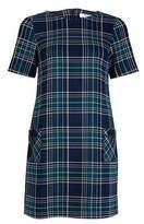 Dorothy Perkins Womens Petite Navy Check Print Shift Dress