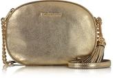 Michael Kors Ginny Pale Gold Pebble Leather Medium Messenger Bag