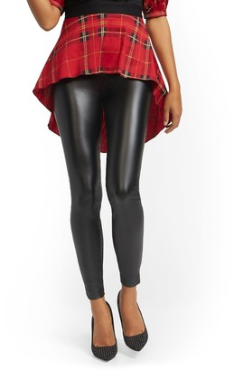 New York & Co. Petite Whitney Faux-Leather High-Waisted Pull-On Slim-Leg Pant