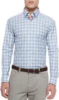 Ermenegildo Zegna Plaid Long-Sleeve Sport Shirt, Blue