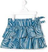 Roberto Cavalli zebra print denim skirt - kids - Cotton/Polyester/Modal - 2 yrs