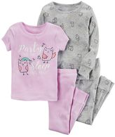 Carter's Girls 4-14 4-pc. Short Sleeve, Long Sleeve & Bottoms Pajama Set