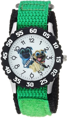 Disney Boys Puppy Dog Stainless Steel Analog-Quartz Watch with Nylon Strap