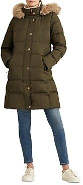 Ralph Lauren Ralph Hooded Faux Fur Trim Down Puffer Coat