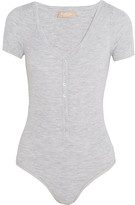 Michael Kors Ribbed Stretch Merino Wool-blend Bodysuit - Gray