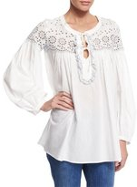 See by Chloe Long-Sleeve Eyelet Tie-Front Blouse, White