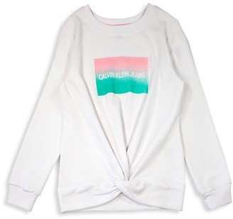 Calvin Klein Girl's Gradient Institution Logo Cotton-Blend Sweatshirt