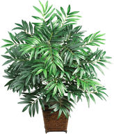 Asstd National Brand Nearly Natural Bamboo Palm Silk Plant with Wicker Basket