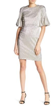 Donna Morgan Gold Metallic Short Bell Sleeve Dress