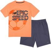 New Balance Boys 4-7 Slogan Sports Tee & Shorts Set