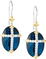 Jude Frances Oval Quartz Doublet Dangle & Drop Earrings w/ Pave Cross, Blue