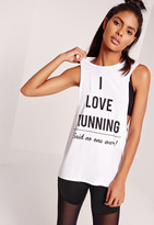 Missguided Active Open Back Graphic Tank Top White