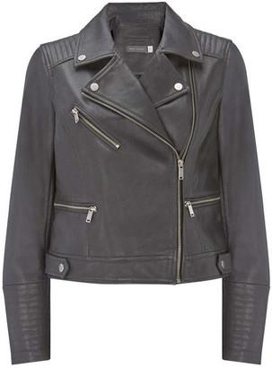 Mint Velvet Grey Leather Biker Jacket