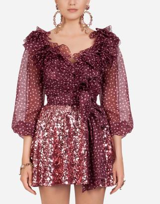 Dolce & Gabbana Small Polka-Dot Print Organza Blouse