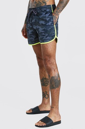 boohoo Mens Grey Camo Print Runner Style Swim Shorts, Grey