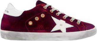 Golden Goose Super Star Velvet And Distressed Leather Sneakers