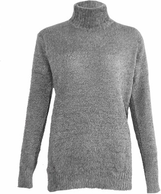 Xpose Ladies Soft Touch Soft Knit Boucle Mohair Polo Neck Winter Cowl Neck Jumper Sweater Black Silver Grey Coral Dusty Pink Fushsia Pink Mustard Navy Royal Blue Wine 8 10 12 14 (SILVER GREY M/L (12/14))