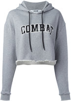 MSGM cropped Combat hoodie - women - Cotton/Viscose - 42