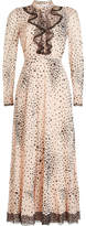 RED Valentino Printed Silk Dress with Lace