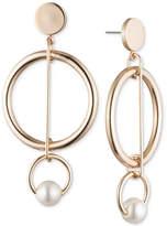 DKNY Gold-Tone Imitation Pearl Circle Orbital Drop Earrings, Created for Macy's