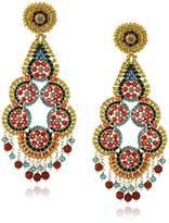 Miguel Ases Rubelite and Fire Opal Hydo-Quartz Multi-Flower Center Drop Earrings