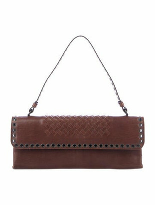 Bottega Veneta Intrecciato Eyelets Flap Shoulder Bag Brown