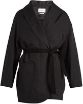 Etoile Isabel Marant Ilona tie-waist cotton and linen-blend coat