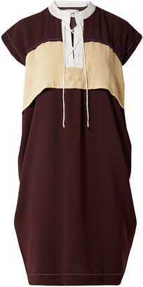 Carven Color-block Lace-up Crepe Dress