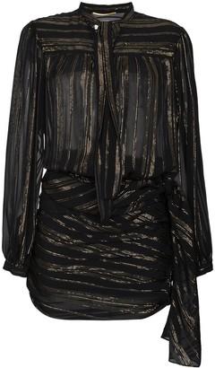 Saint Laurent Bow Detail Metallic Wrap Silk Mini Dress