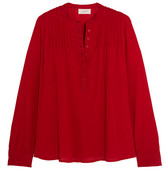 The Great Pintucked Crinkled Cotton-gauze Blouse - Red