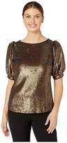 Lauren Ralph Lauren Metallic Sequined Shirt (Bronze) Women's Clothing