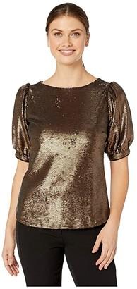 Lauren Ralph Lauren Metallic Sequined Shirt (Bronze) Women's Clothing