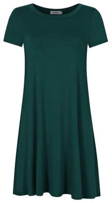 Glowsol Women's Loose T-shirt Dress Elegant Short Sleeve Casual Dress Green S