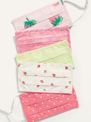 Old Navy Variety 5-Pack of Triple-Layer Cloth Pleated Face Masks for Kids (with Ear Adjusters)
