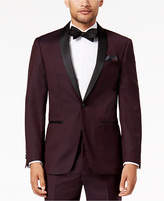 Tallia Men's Slim-Fit Burgundy Solid Twill Wool Dinner Jacket