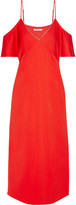 Alexander Wang Cold-shoulder Chain-trimmed Stretch-crepe Midi Dress - Crimson