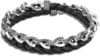 John Hardy Men's Asli Classic Chain Woven Leather Bracelet, Size M-L
