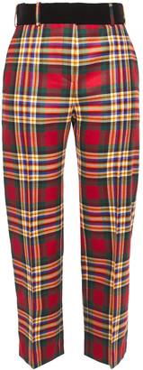 Alexandre Vauthier Cropped Velvet-trimmed Checked Wool Straight-leg Pants