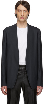 Maison Margiela Navy Wool Poplin Collarless Blazer
