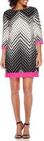 Studio 1 3/4-Sleeve Chevron Dot Print Shift Dress - Petite
