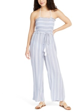 Raviya Strapless Striped Smocked Cover-Up Jumpsuit Women's Swimsuit