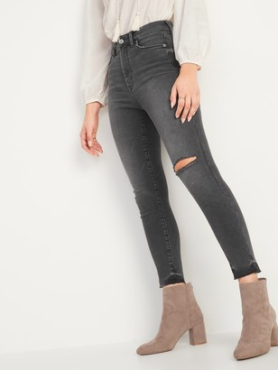 Old Navy Extra High-Waisted Rockstar 360 Stretch Super Skinny Ripped Gray Cut-Off Ankle Jeans for Women