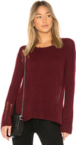 Enza Costa Cashmere Side Slit Crewneck Sweater