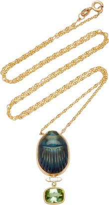 Lito Scarab 14K Yellow-Gold Labradorite Pendant Necklace