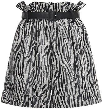 Self-Portrait High Waist Zebra Sequin Shorts
