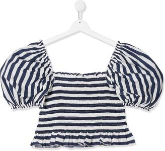 MonnaLisa TEEN puff-sleeve elasticated top