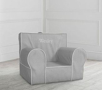 Pottery Barn Kids Gray with White Piping Anywhere Chair