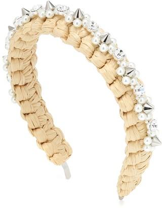 Simone Rocha Crystal-embellished raffia headband