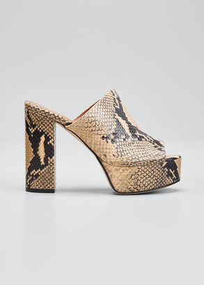 Paris Texas Python-Print Slide Mules