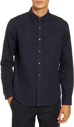 Club Monaco Slim Fit Blue Button-Down Flannel Shirt